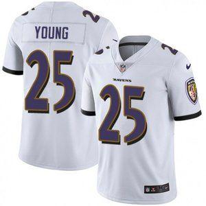 Ravens Tavon Young White Jersey